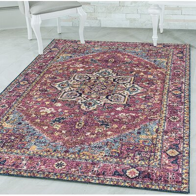 Dietz Magenta Area Rug Rug Size: Rectangle 53 x 72