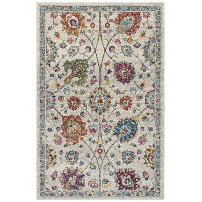 Doucet Cream/Pink Area Rug Rug Size: Rectangle 9 x 12