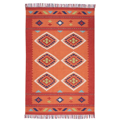 Rocky Hand Woven Orange/Red Area Rug Rug Size: Rectangle 5 x 7