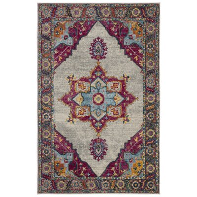 Doucet Cream/Pink Area Rug Rug Size: Rectangle 3 x 5