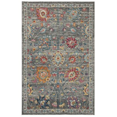 Doucet Gray/Pink Area Rug Rug Size: Rectangle 9 x 12