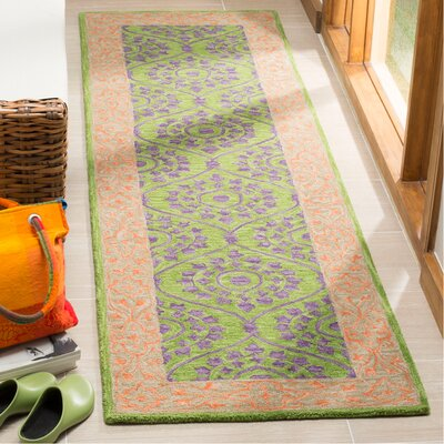 Tomo Hand-Hooked Green Area Rug Rug Size: Rectangle 23 x 8