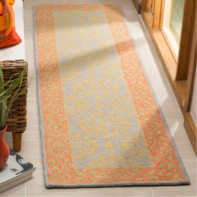 Tomo Hand-Hooked Orange Area Rug Rug Size: Rectangle 23 x 8