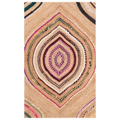 Abhay Boho Hand Woven Beige/Pink Area Rug Rug Size: Rectangle 3 x 5