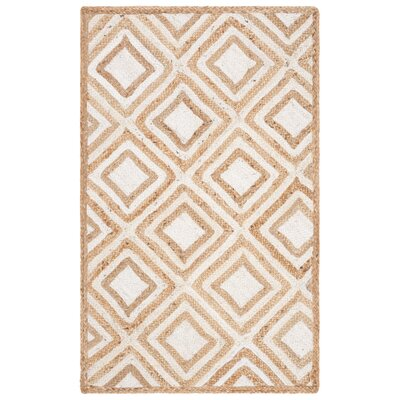 Abhay Contemporary Hand Woven Beige/White Area Rug Rug Size: Rectangle 3 x 5