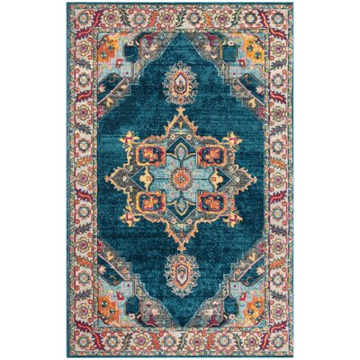 Doucet Blue/Orange Area Rug Rug Size: Rectangle 4 x 6