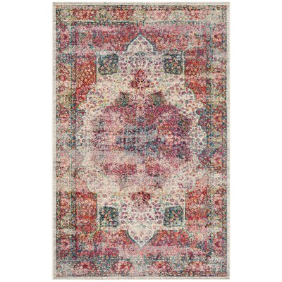 Doucet Cream/Red Area Rug Rug Size: Rectangle 4 x 6