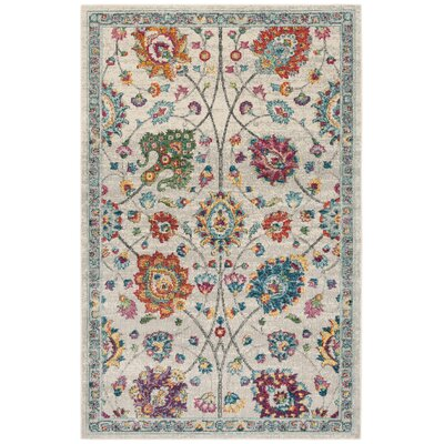 Doucet Cream/Pink Area Rug Rug Size: Rectangle 4 x 6