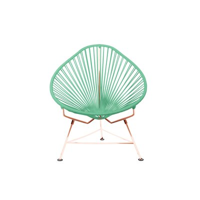 Borquez Papasan Chair Upholstery: Aquamarine Blue, Color: Copper