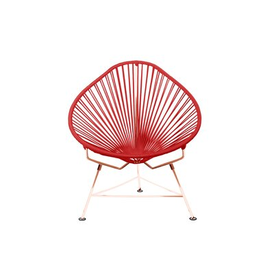 Borquez Papasan Chair Upholstery: Red, Color: Copper