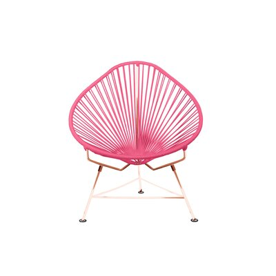 Borquez Papasan Chair Upholstery: Pink, Color: Copper