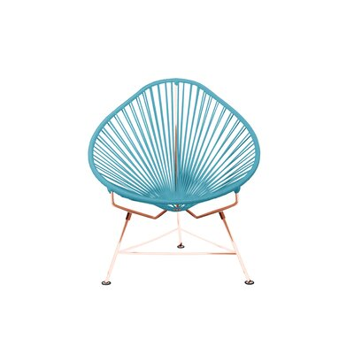 Borquez Papasan Chair Upholstery: Cyan, Color: Copper