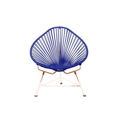 Borquez Papasan Chair Upholstery: Navy, Color: Copper
