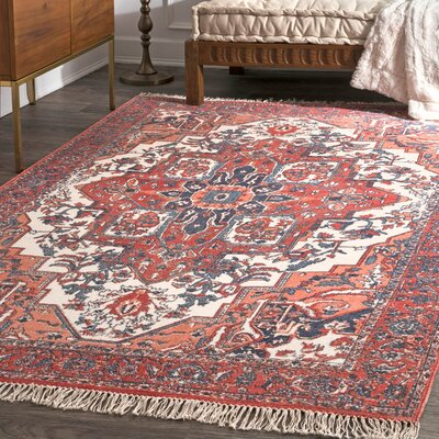 Perlman Hand-Woven Orange Area Rug Rug Size: Rectangle 4 x 6