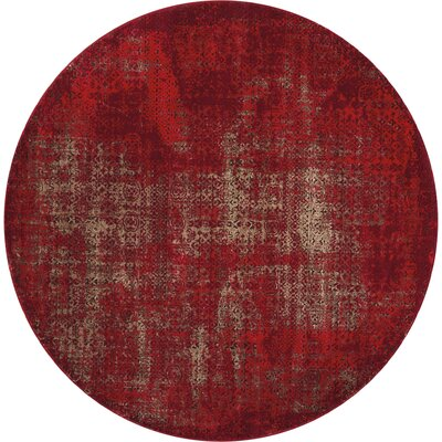 Saliba Red Area Rug Rug Size: Round 53