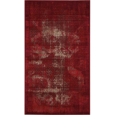 Saliba Red Area Rug Rug Size: Rectangle 22 x 39