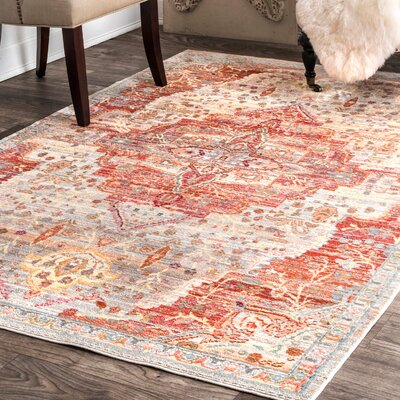 Perez Beige/Orange Area Rug Rug Size: Rectangle 710 x 1010