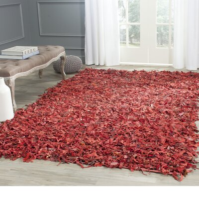 Schaefer Hand-Knotted Red Shag Area Rug Rug Size: Rectangle 3 x 5