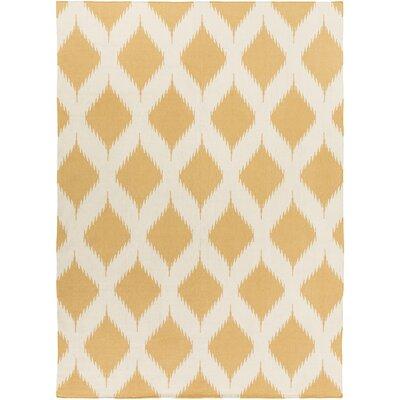 Faith Hand Woven Gold/White Area Rug Rug Size: 8 x 11