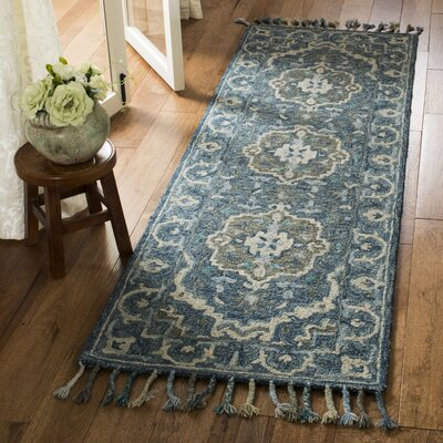 Chancellor Hand-Tufted Wool Dark Blue Area Rug Rug Size: Runner 23 x 7
