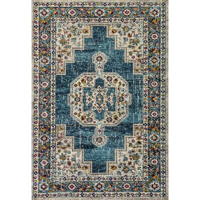 Corson Blue Area Rug Rug Size: Rectangle 53 x 77