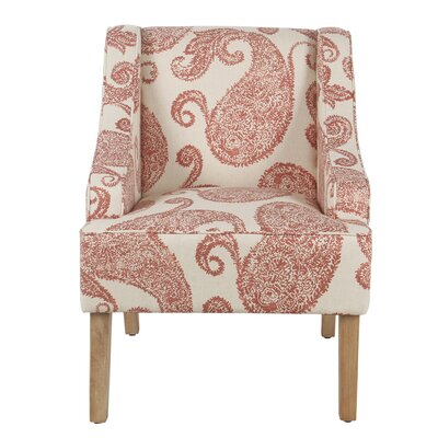 Edmund Swoop Armchair Upholstery: Cream and Red, Finish: White Washed