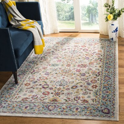 Doucet Cream/Blue Area Rug Rug Size: Rectangle 51 x 76