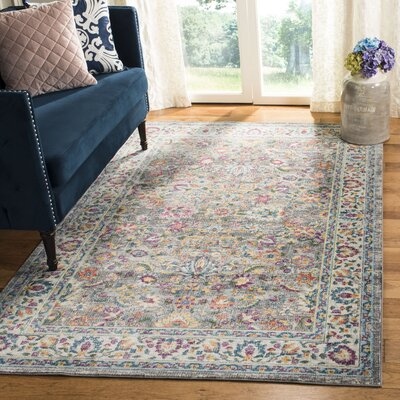Doucet Gray/Pink Area Rug Rug Size: Rectangle 51 x 76