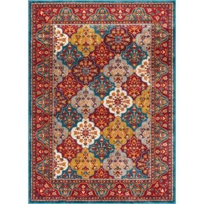 Aya Panel Red/Teal Area Rug Rug Size: Rectangle 53 x 73