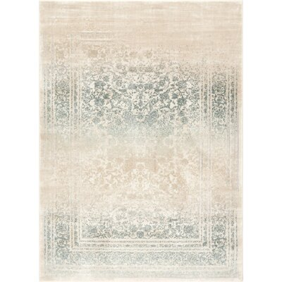 Aya Medallion Vintage Blue/Beige Area Rug Rug Size: Rectangle 93 x 126