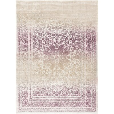 Aya Distressed Medallion Lavender/Beige Area Rug Rug Size: Runner 27 x 910