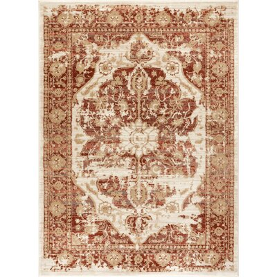 Aya Distressed Medallion Copper Area Rug Rug Size: Rectangle 93 x 126