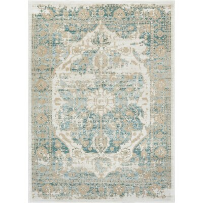 Aya Distressed Medallion Blue/Beige Area Rug Rug Size: Rectangle 93 x 126