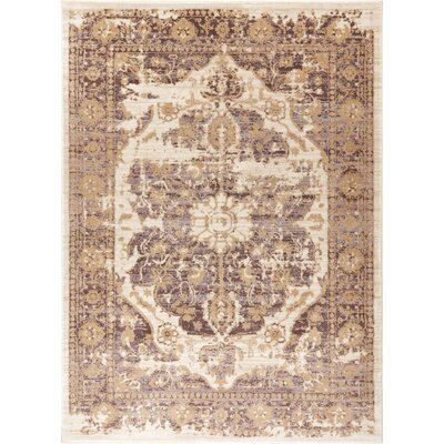Aya Distressed Medallion Lavender/Beige Area Rug Rug Size: Rectangle 53 x 73
