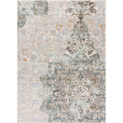 Aya Distressed Medallion Blue/Beige Area Rug Rug Size: Runner 27 x 910