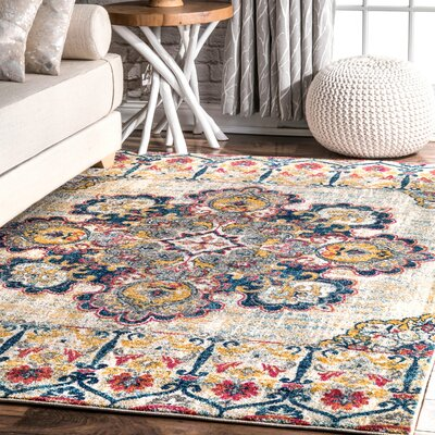 Causey Yellow Area Rug Rug Size: Rectangle 8 x 10