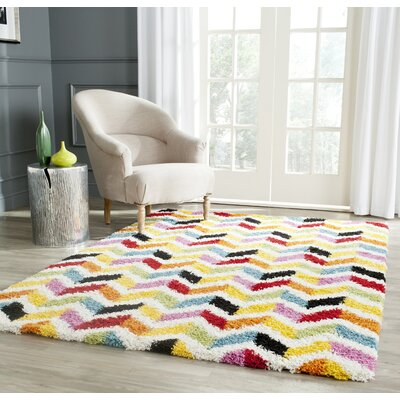 Kids Yellow/Red Area Rug Rug Size: Rectangle 86 x 12