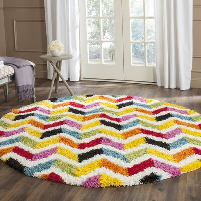 Kids Yellow/Red Area Rug Rug Size: Round 67