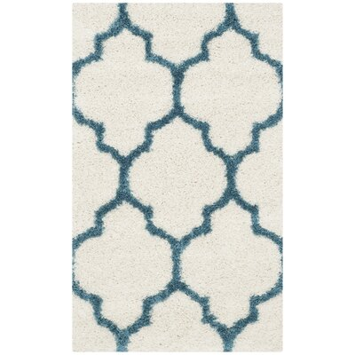 Kids Off-White And Teal Shag Area Rug Rug Size: 3 x 5