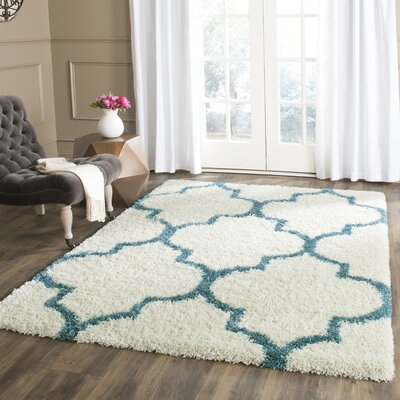Kids Off-White And Teal Shag Area Rug Rug Size: Rectangle 4 x 6