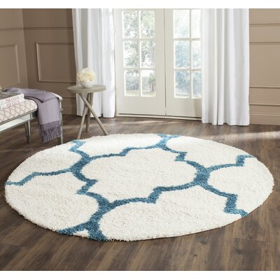 Kids Off-White And Teal Shag Area Rug Rug Size: Round 67