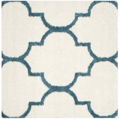 Kids Off-White And Teal Shag Area Rug Rug Size: Square 67