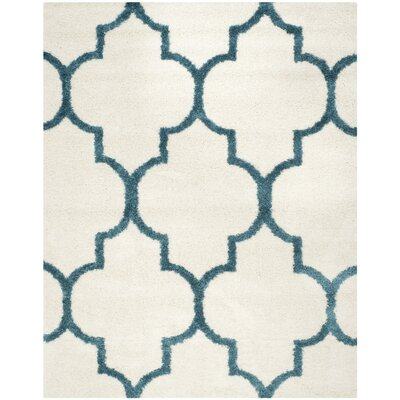 Kids Off-White And Teal Shag Area Rug Rug Size: Rectangle 8 x 10