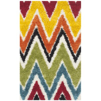 Kids Ivory Shag Area Rug Rug Size: Rectangle 3 x 5