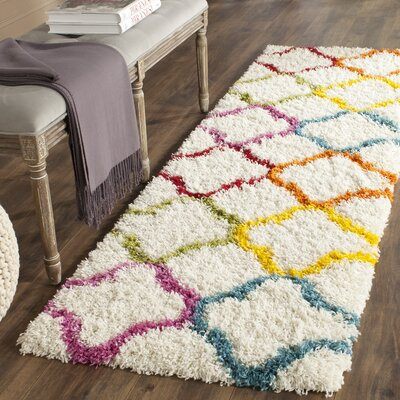 Kids Ivory/Yellow Area Rug Rug Size: Runner 2'3