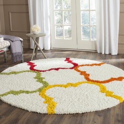 Kids Ivory/Yellow Area Rug Rug Size: Round 67