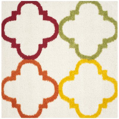 Kids Ivory/Yellow Area Rug Rug Size: Square 67