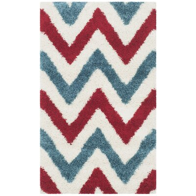 Kids Ivory & Red Shag Area Rug Rug Size: 3 x 5