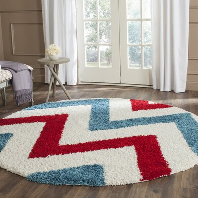 Kids Ivory & Red Shag Area Rug Rug Size: 4 x 6