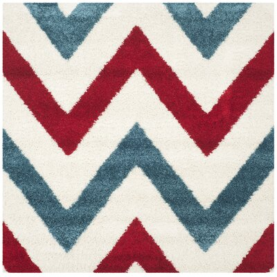 Kids Ivory & Red Shag Area Rug Rug Size: Square 6'7
